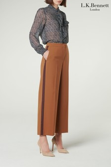 L.K.Bennett Brown Florence Wide Leg Wool Trousers