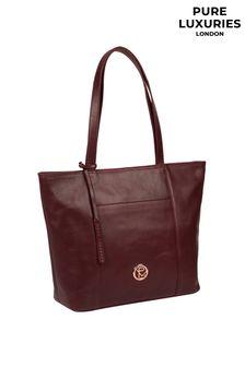 PureLuxuries London Burgundy Pimm Leather Tote Bag