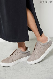 Mint Velvet Indie Pale Grey Suede Trainers