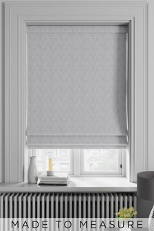 Made To Measure Grey Velvet Metallic Geo Roman Blind