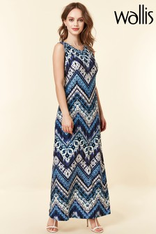 Wallis Blue Petite Chevron Tie Dye Maxi Dress
