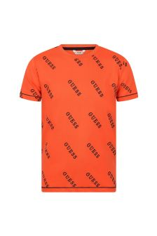 Guess Boys Orange Cotton T-Shirt