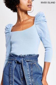 River Island Blue Brooke Puff Sleeve Jumper