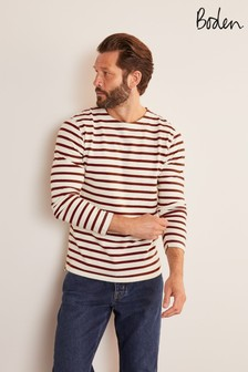 Boden Ecru/Merlot Red Stripe Midweight Chichester Mariner T-Shirt