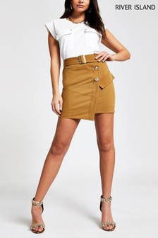 River Island Beige Utility Mini Skirt