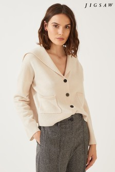 Jigsaw Stone Sailor Collar Slouchy Cardigan