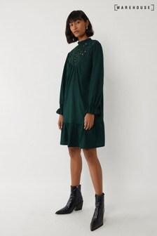 Warehouse Green Cutwork Tiered Mini Dress
