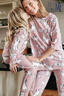 Matching Mother & Me Girls Cat Pyjamas (3-16yrs)