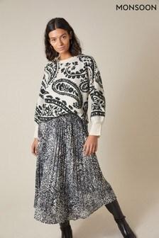 Monsoon Black Animal Print Pleated Skirt
