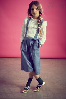 Outside The Lines Blue Chambray Braced Culotte