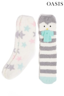 Oasis Natural Penguin Cosy Socks Two Pack