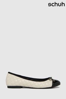 Schuh White Luna Quilted Ballerina Pumps