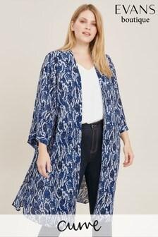 Evans Curve Blue Snake Print Kimono
