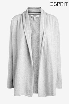 Esprit Light Grey 5 Open Cardigan Made Of 100% Organic Cotton