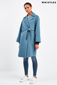 Whistles Blue Double Faced Wool Wrap Coat