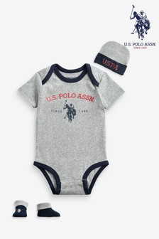 U.S. Polo Assn. Infant Bodysuit, Bootie & Hat Set