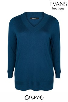Evans Curve Blue Ribbed V-Neck Jumper