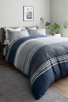 Blue Stripe Duvet Cover and Pillowcase Set