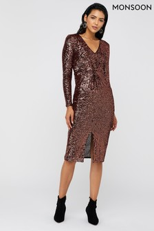 Monsoon Bronze Rosie Sequin Midi Dress