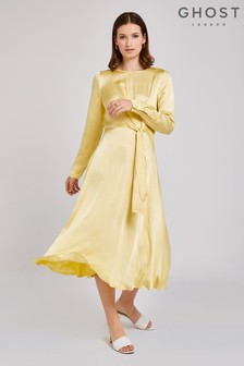 Ghost London Yellow Mindy Satin Dress
