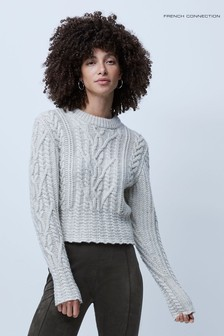 French Connection Joetta Cable Knit Balloon Sleeve Jumper