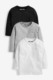 מארז 3 חולצות טי חלקות עם שרוולים ארוכים (3 חודשים-7 שנים)