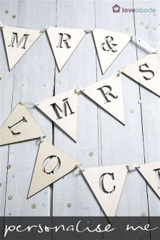 Buy wedding gifts decorations from the next uk online shop personalised mr and mrs wooden bunting by loveabode junglespirit Image collections