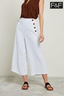 F&F White Button Culotte Trouser