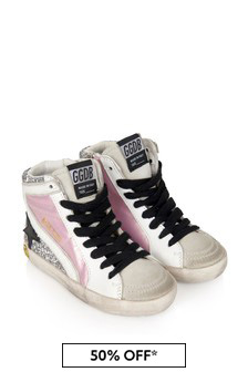Kids Pink Leather & Glitter High Top Trainers