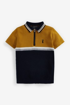 Knitted Colourblock Zip Neck Polo (3-16yrs)