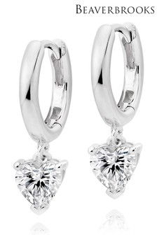 Beaverbrooks Sterling Silver Cubic Zirconia Heart Hoop Earrings