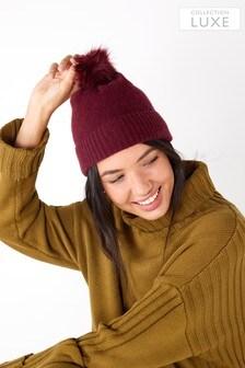 Cashmere Blend Ribbed Pom Hat