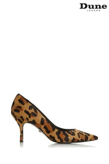 Dune London Dark Leopard Print Leather Andes Mid Heel Court Shoes