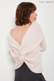 Mint Velvet Blush Pink Knot Back Jumper