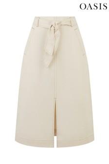 Oasis Cream Twill Midi Skirt