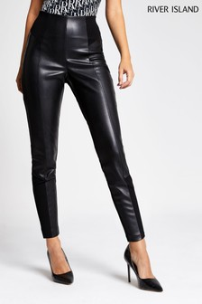River Island Black PU Ponte Mix Trousers