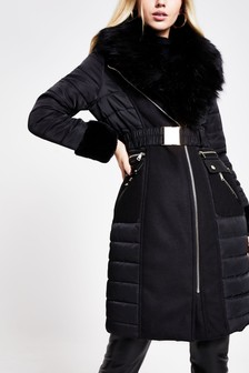 River Island Black Nina Faux Fur Cuff Hybrid Jacket