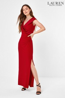 Lauren Ralph Lauren® Red Leonetta Wrap Evening Dress