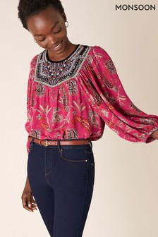 Monsoon Pink Paisley Print Sustainable Top