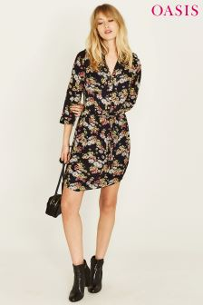 Oasis Daisy Black Shirt Dress