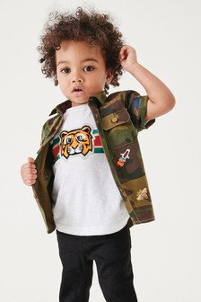 Short Sleeve Embroidered Shirt And Tiger T-Shirt (3mths-7yrs)