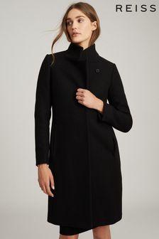 Reiss Black Marcie Wool Blend Mid Length Coat