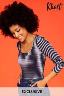 Khost Blue Stripe Rib Square Neck T-Shirt
