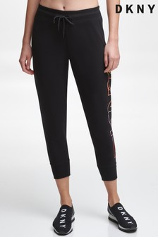 DKNY Black Ombre Logo Cropped Joggers