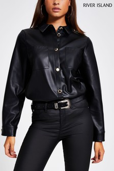River Island Black Roxy PU Overshirt