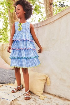 Boden Blue Tiered Embroidered Dress