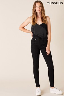 Monsoon Black Nadine Star Sparkle Leg Jeans