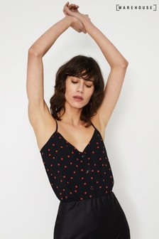 Warehouse Black Spot Print Button Through Cami