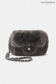 Accessorize Grey Mini Faux Fur Cross Body Bag