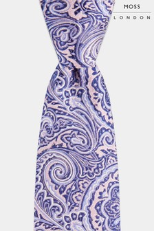 Moss London Pink/Purple Mid Size Paisley Tie